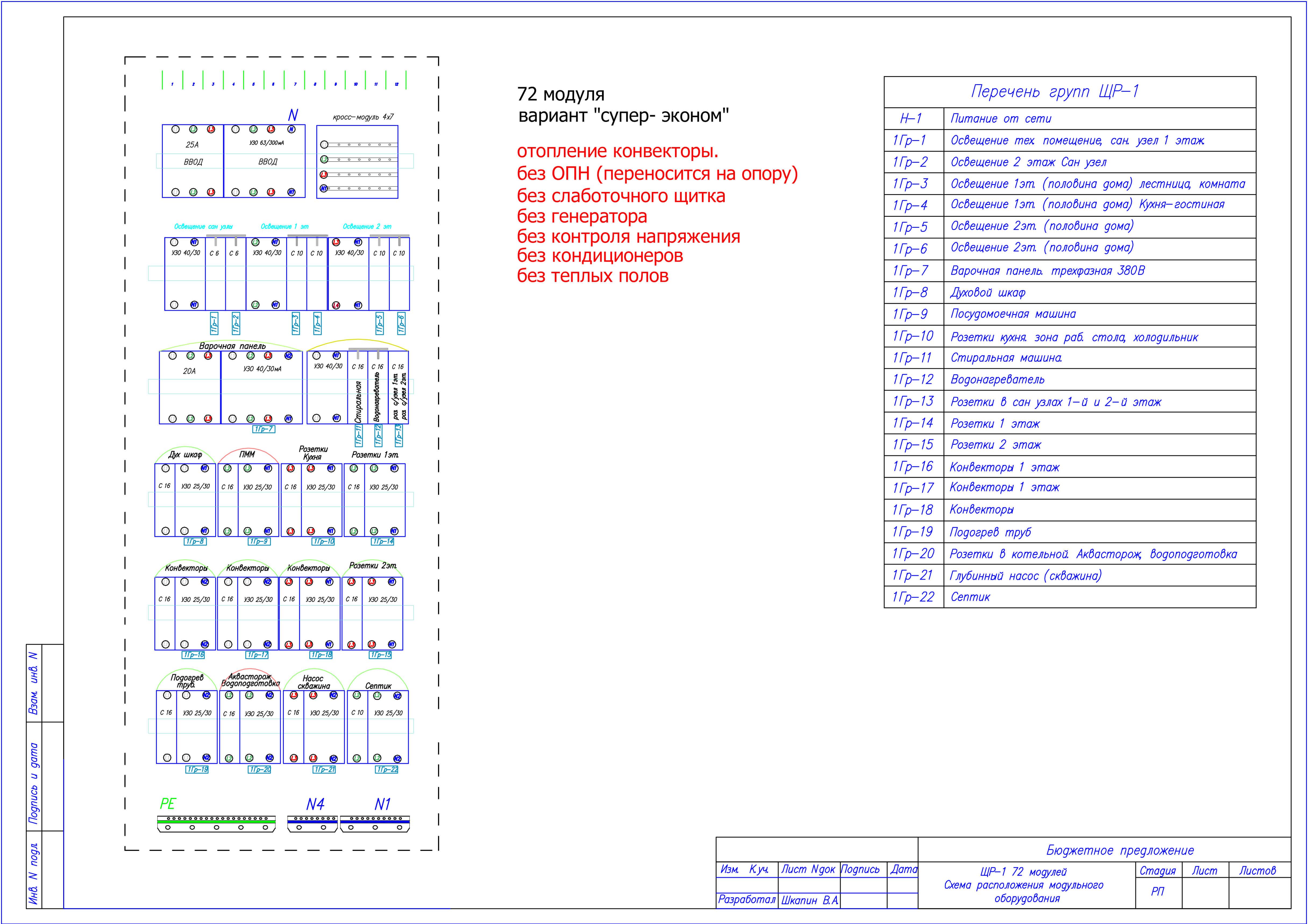 схема щита для дома из сип панелей